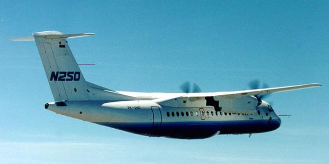The first N250 aircraft to air in the sky of western Java